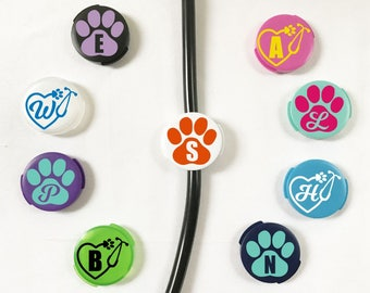 Stethoscope Id Tag, Vet Tech Id Tag, Stethoscope Accessories, Veterinarian Gift, Paw Print Monogram, Vet Student Gift, Vet Tech Gift