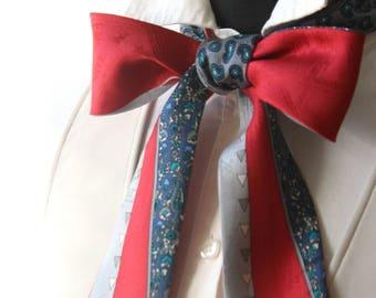 Printed silk scarf Boom Bow Women bow tie W026