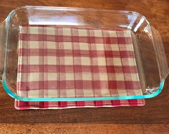 Large hot pad, trivet, burgundy check hot pad, gift for the cook, quilted hot pad, stocking stuffer for her, casserole hot pad