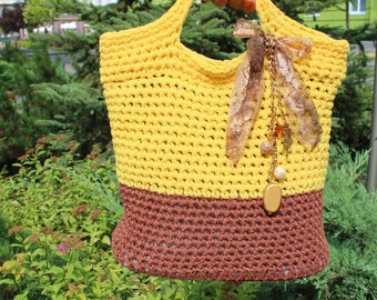 Knitted bag Decorated by bow. Bright yellow design