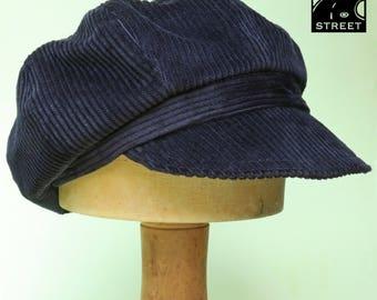Black corduroy newsboy cap slouchy boho peaked cotton winter cap