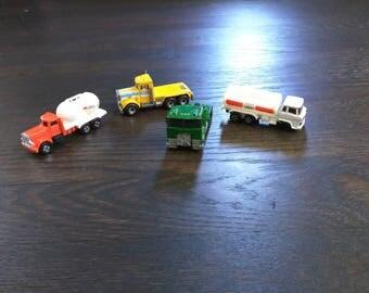 Vintage hot wheels toy trucks, die cast toys, vintage trucks, Sunshine Trukin, Exxon Mobile, GS36, Matchbox Peterbilt PACE, Lot of Trucks