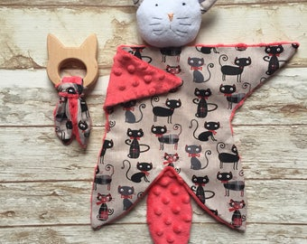 Birth gift box Doudou baby blankie comforter cat and wooden teething ring for baby