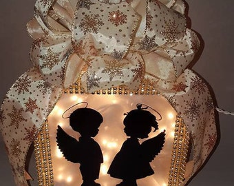 Angel Lighted Glass Block With Bling