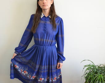 "60s Vintage Blue ""Color Of The Mountains"" Prairie Dress"