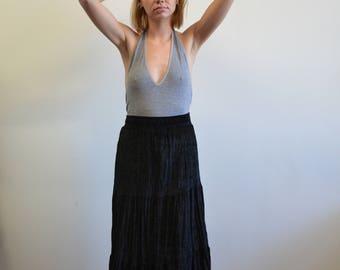 Vintage Gothic Mock Velvet Skirt, Witchu Black High Waisted Skirt