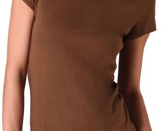 NWT60 Vince Womens Little Boy Basic Tee T Shirt Top Brown Small S