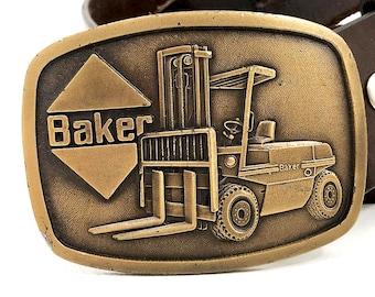 Vintage Forklift Belt Buckle / Baker Forklift Buckle for Snap Belts / Collectible Heavy Construction Buckle / Union Buckle Labor Belt Buckle