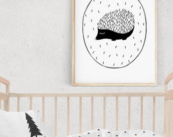 Cute HEDGEHOG Art, Woodland Nursery Decor, Monochrome Kids Room Ideas, Hedgehog Illustration, Scandinavian Baby Room Decor, Digital Download