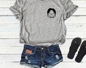 Dwight Schrute False T-Shirt Tee Top, Bears Beets Battlestar Galactica Shirt, The Office Shirt Tee Top, Dunder Mifflin, Michael Scott