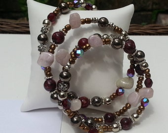 Memory Wire Beaded Bracelet with Kunzite, Red Jade and Czech Glass