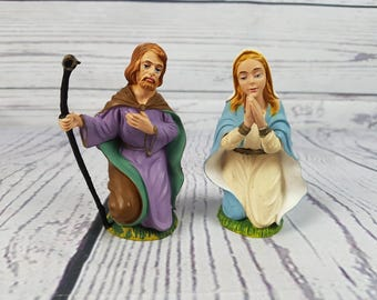 Vintage Praying Virgin Mary & Joseph Plastic Figurine Made in Italy Statue Religious Gift Catholic Baptism Christian Jesus