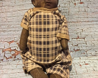 Late 1800's Black Americana Composition Head and cloth body.  12""