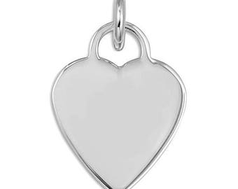 925 Sterling Silver Heart Love Flat Pendant Necklace