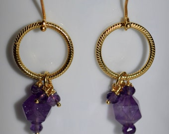 Gold and Amethyst Earrings~ February Birthdays~ Valentine's Day Gifts for Her