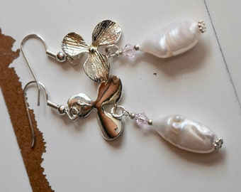Biwi Stick Freshwater Pearl and Orchid Earrings~ Mother's Day Gifts~ Bridal Earrings~ Stone of Sincerity~