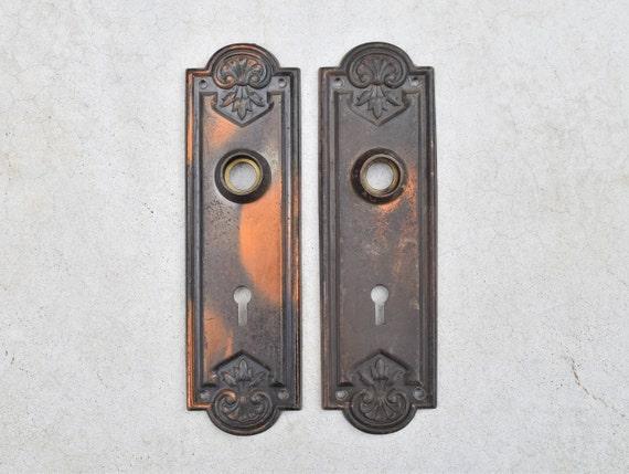 Like this item? - Vintage Pair Of Cast Brass Oxidized Door Plates / Antique Pair