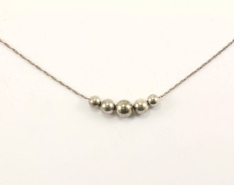 Vintage Beads Necklace 925 Sterling Silver NC 916