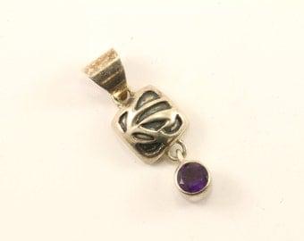 Vintage Lori Bonn Small Dangling Amethyst Color Crystal Design Pendant 925 Sterling  PD 1514