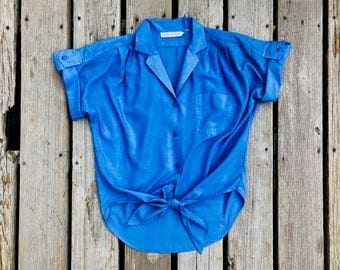 Blue Tie Front Vintage Short Sleeved Button Up Shirt