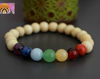 Chakra Bracelet-Wood Gemstone-Reiki-Rainbow-Beaded Stretchy Bracelet-Wrist Mala-Yoga Bracelet-Boho Chic Elegant Jewellery-Stacking Layering