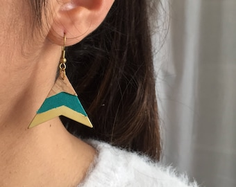 Pierced ears-CANCUN-exotic-triangle-leather Cork fabric
