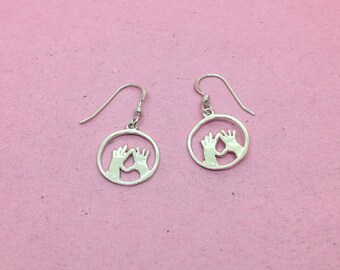 Silver Feminist Vulva Hands Earrings | Feminist Jewellery