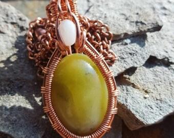 Green Jasper Wire Wrapped Stone Pendant - Copper Heady Wire Wrap - Bohemian Jewelry - Unique Festival Fashion - Gemstone Birthstone Jewelry