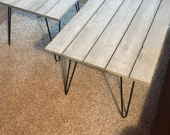 Rustic Shiplap Coffee Table & End Table (barn gray)