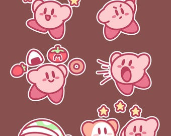 Kirby Sticker Set, Set of 6 Stickers // 200GSM Acid Free