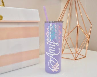Personalized Mermaid Skinny Steel Tumbler Water Bottle - 20 oz | Mermaid Scales | Bridesmaid Proposal Gift | Bachelorette Girls Night Out