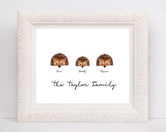 Family Print / Family art / Hedgehogs / Wedding present / housewarming present / new home card