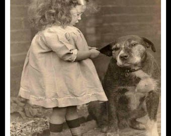 Vintage Historic Reproduction Photo Vintage Girl and Dog Unframed
