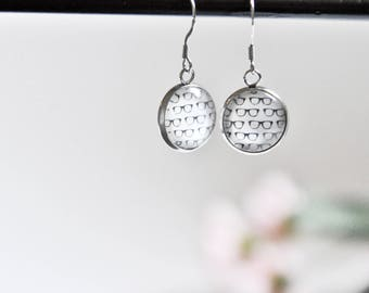 Earrings with glass cabochon - 14mm - Stainless steel - Geek glasses binoclar