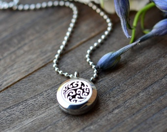 Petite Stainless Steel Essential Oil Diffuser Necklace//20mm//Aromatherapy// With a Choice of Essential Oil (12 Variety)