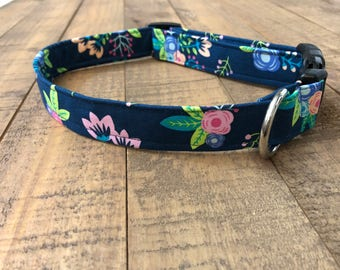 Navy floral dog collar - flower dog collar - pink flower dog collar - pink dog collar -navy dog collar -girl dog collar