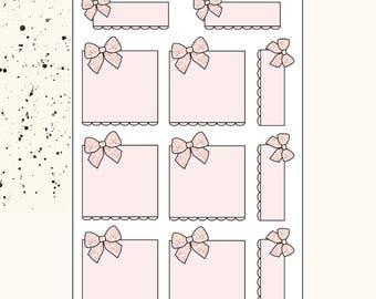 BOW SCALLOP BOXES   Planner Stickers   Premium Matte Paper