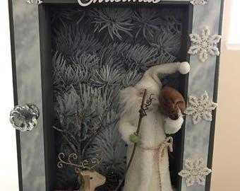 Merry Christmas reverse canvas, Home Decor, Gift