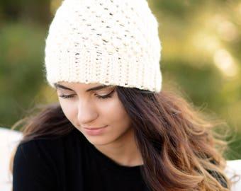 SALE Women's Faux Fur Pom Pom Hat, Crochet Beanie, Women's Crochet Beanie, Pom Pom Beanie, Women's Winter Hat,Crochet Cream Hat