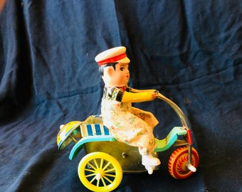 Vintage Tin Toy Boy on His Tricycle - 1970