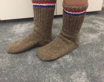 Handmade Slippers, Slipper Boots, Knit Slippers, Warm Slippers, House Slippers, Light Brown Slipper Boots, Home Slipper Boots