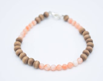 Coral and Wood Beaded Bracelet 7""