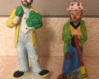 Vintage Flambro Emmett Kelly Jr. Figurines - set of 2