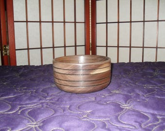 Black Walnut Accessory Bowl with Burnt accent rings {SDC 11860)