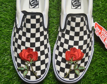 Custom Vans checkered Checkerboard Slip-On Black/Off White Check Rose Floral Embroidered Iron On Shoes Sneakers