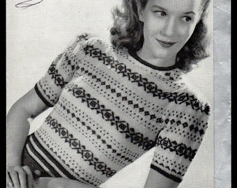 Patons and Baldwin (P and B0 Lady's Fair Isle Jumper Knitting Pattern 207, 1940s
