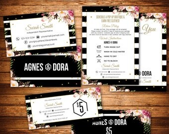 Agnes&Dora Marketing Kit, 3 Items Package, Black Stripes, Thanks Card Business Card Certificate, Small Business Starter Pack Set K25X02