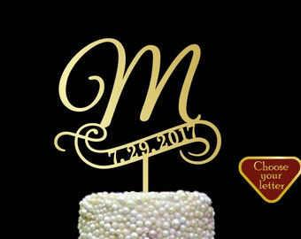 m cake topper, cake toppers for wedding gold, wedding cake topper date, rustic cake topper silver, letter cake topper, cake topper m, CT#162