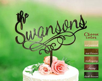 Surname Cake Topper, Wedding Cake Topper, Family Name topper, Custom Wedding Cake Topper, Personalized Cake Topper, Gold Cake Topper, CT#203