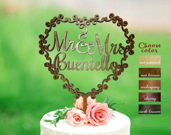 Mr and Mrs wedding cake topper customized wedding cake topper, personalized cake topper for wedding, wedding cake topper wreath, CT#286